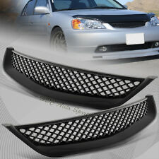 For 2001-2003 Honda Civic JDM Type R Black Mesh ABS Front Hood Grille Grill