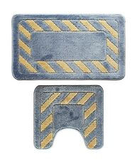 Microfiber 2 Pieces Blue Race Track Bathroom Bath Rug Pedestal Mat Set