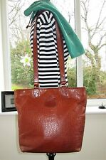 AUTHENTIC VINTAGE MULBERRY BROWN CONGO REPTILE LEATHER HELLIER SHOULDER HAND BAG