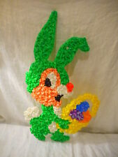 Green Rabbit w/ Easter Basket Melted Plastic Popcorn Decoration Wall Window