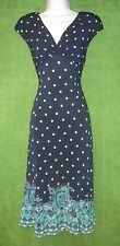 Jones New York Blue White Green Dot Border Print Jersey Work Social Dress 4 $98