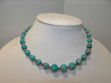 "Carolyn Pollack Relios Vintage 16"" Turquoise & Sterling Silver Bead Necklace"