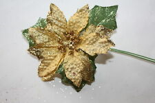 6 x SMALL GOLD GLITTER SATIN POINSETTIA FLOWERS 6cm GREEN LEAVES ON WIRED STEMS