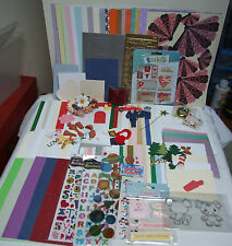 A4 BOX OF MATERIALS CARD PAPER STICKERS FLOWERS cardmaking CRAFT BUNDLE