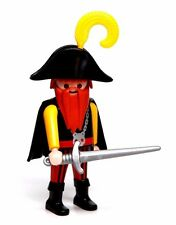 Playmobil Figure Pirate w/ Long Red Beard Skull Necklace Hat Cape Sword 3029