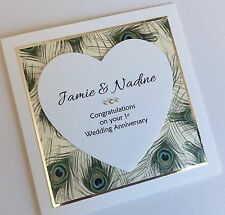 Personalised Handmade Peacock Feathers Wedding Day/Anniversary/Engagement Card