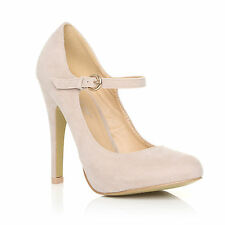 NEW WOMENS LADIES HIGH HEEL MARY JANE ANKLE STRAP COURT SHOES SIZE 3-8
