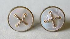 Men Vintage MOTHER of PEARL BUTTONS CUFFLINKS Costume Jewelry Accessory G19