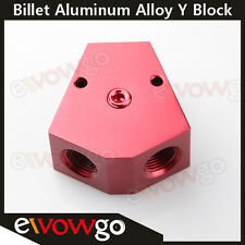 """1/2'' in 1/2'' out Female Y-Block Fitting with 1/8"""" NPT Gauge Port Red"""
