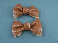 Brown set of 2 punched faux leather bow barrette hair clip alligator clamp