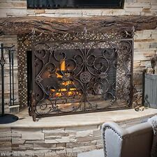 Indoor Darcie Black Brushed Gold Finish Wrought Iron Fireplace Screen