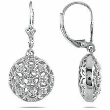 Silver Earrings 14K White Gold Finish 0.02 CT Diamond Dangle Oval Leverback
