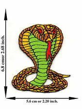 Yellow King Cobra Snake Animal Biker Racing V02 Logo Applique Iron on Patch Sew