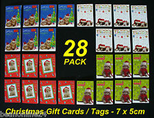 28 Pack Mini Christmas Cards / Tags 7 x 5 cm - Cute Animal Designs