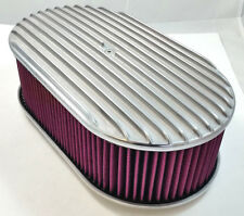 "15"" x 4"" Oval Polished Aluminum Full Finned Air Cleaner W/ Washable Filter 4 Brl"