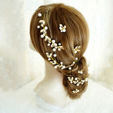 Elegant Faux Pearl HairBand Golden Leaves Headpiece Cluster Bridal Accessory
