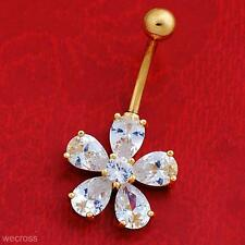 New Crystal Flower Body Piercing Jewelry Barbell Belly Button Navel Ring Nombril