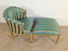 ANTIQUE Carved Italian Knotted Rope Duchesse Chair & Ottoman - Extremely Rare !!