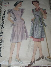 1944 SIMPLICITY #1079 - LADIES WWII ERA PINAFORE & APRON PATTERN-RARE SIZE 46 FF