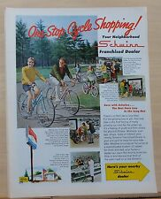 1969 magazine ad for Schwinn bicycles - colorful cyclists, see neighborhood shop