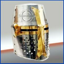 Knight Armor Crusader New Templar Helmet Helm w/Mason's Brass Cross