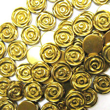 "4x12mm hematite carved rose flower beads 7.5"" strand gold color"