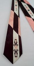 Vintage Famous Advance Cravat 53Lx3W Men's Necktie Coral Cream Brown Scrolls