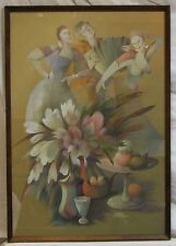 Vintage Russian Painting art Georgy Pondopulo gouache Still Life 1993 +freight