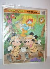 Vintage Disney 1980's Golden Mickey Mouse Minnie Donald Safari Frame Tray Puzzle
