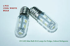 2 Pcs 1W LED Mini Lampadina E14 Ses Lampade per frigo, cabinet in COOL WHITE