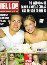 SARAH MICHELLE GELLAR FREDDIE PRINZE JR UK Hello Magazine 9/17/02 #731 WEDDING