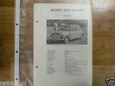 MO10-MORRIS TYPE MINI MINOR 1959-1962 -TECHNICAL INFO OLDTIMER