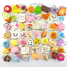 Random Squishy Cute Soft Panda/Bread/Donut Phone Keychain 10pcs Wholesale