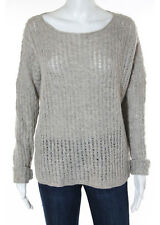 Vince Beige Wool Textured Long Sleeve Boat Neck Sweater Size Medium