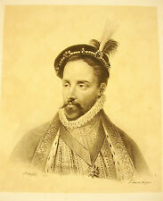 LITHOGRAPHIE J-B MAUZAISSE Henri de Gondi marquis de Belle-Île des Îles d'Hyères