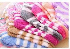 Winter Elastic Fuzzy Cozy Warm Thick Soft Crew Solid Towel Floor Stripe Socks o2