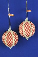 "2 Vintage 1970s Red White Gingham Check Ball Christmas Ornaments 3"" - Japan"