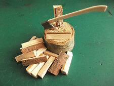 1/12th Scale Wood Chopping block - Axe & Logs Dolls House Garden