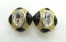 18k GP Oval Crystal Swarovski Element Austrian Crystal Clip On Earrings