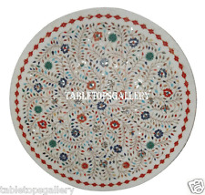 """30"""" White Marble Coffee Table Top Multi Stone Mosaic Inlay Marquetry Decor H907"""