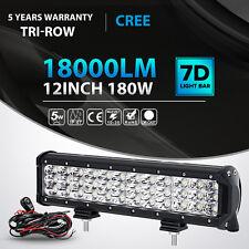 "Tri-Row 180W 12Inch Cree Led Light Bar Spot Flood Offroad 4WD Truck ATV 14"" 72W"