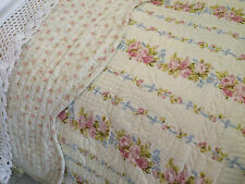 SHABBY CHIC DITSY FLORAL SINGLE SIZE PATCHWORK QUILT 100% COTTON REVERSIBLE