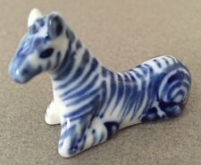 Delft Porcelain miniture Zebra Figurine Signed  Blue & White