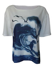 Surfing Trex Tyrannosaurus Rex nautical print top shirt womens ladies Jurasic