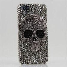 3D Bling handmade black Skull hard Case cover skin for iPhone 5C