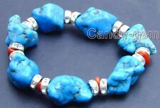 "SALE GENUINE Blue 20-30mm BAROQUE NATURAL Turquoise RED CORAL 7.5"" Bracelet-b102"