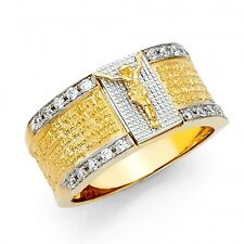 EJMR34402 - Men's Solid 14K Two Tone Gold Lord's Prayer Ring