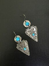 Turquoise Earrings Silver Aztec Hippie Bohemian Ethnic Boho Festival Tribal