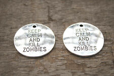 5pcs- keep calm and kill zombies Charms, Silver the walking dead penant 32mm