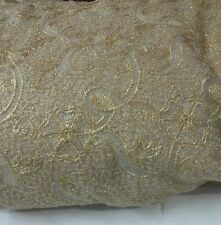 Feastive deal(2.5mtr)golden zari threadwork on white net fabric for all purposes